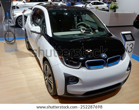 TORONTO-FEBRUARY 12: at the 2015 Canadian International Auto Show  BMW i3 is BMW's first zero emissions mass-produced vehicle due to its electric powertrain  on February 12, 2015 in Toronto  - stock photo