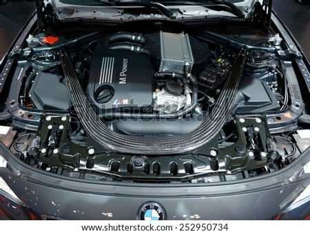 TORONTO-FEBRUARY 12: at the 2015 Canadian International Auto Show , BMW M4 Cabriolet power train - stock photo