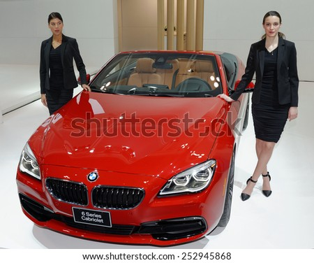 TORONTO-FEBRUARY 12: at the 2015 Canadian International Auto Show  BMW 6 Series Cabriolet comes with option of four engines and power up to incredible 552bhp  on February 12, 2015 in Toronto  - stock photo