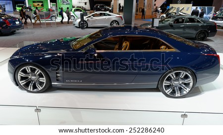 TORONTO-FEBRUARY 12: at the 2015 Canadian International Auto Show  Cadilac Elmiraj Concept 2016 is a grand coupe that expresses the pure enjoyment of driving  on February 12, 2015 in Toronto  - stock photo