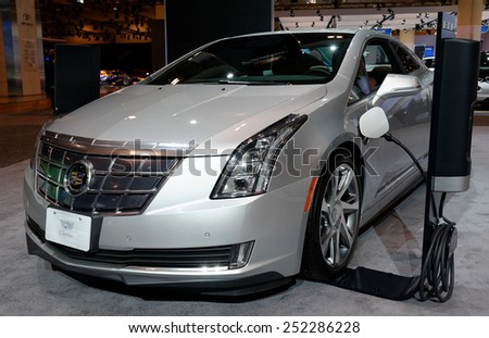 TORONTO-FEBRUARY 12: at the 2015 Canadian International Auto Show  Cadillac ELR has a powertrain ihat is a re-tuned version of the propulsion system used in the Chevrolet Volt - stock photo