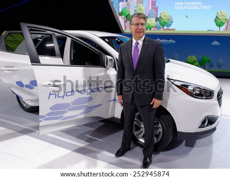 TORONTO-FEBRUARY 12: at the 2015 Canadian International Auto Show, Don Romano President and CEO of Hyundai Canada presents Hyundai Tucson Hydrogen  - stock photo