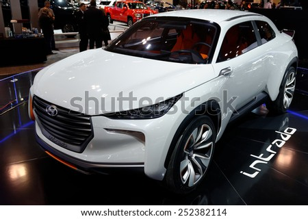 TORONTO-FEBRUARY 12: at the 2015 Canadian International Auto Show  Hyundai Intrado Concept is a first hydrogen powered crossover  on February 12, 2015 in Toronto  - stock photo