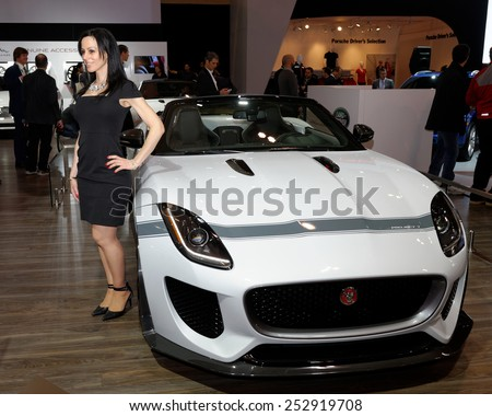 TORONTO-FEBRUARY 12: at the 2015 Canadian International Auto Show  Jaguar F-Type Project 7 will be produced in an exclusive, limited-edition run of up to 250 units globally - stock photo