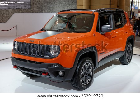 TORONTO-FEBRUARY 12: at the 2015 Canadian International Auto Show  Jeep Renegade designed in USA and crafted in Italy delivers a best-in-class combination of fuel efficiency and Trail Rated capability - stock photo