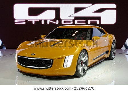TORONTO-FEBRUARY 12: at the 2015 Canadian International Auto Show  KIA GT4 Stinger Concept is a compact, rear-drive 2+2 coupe designed around turbo four and a six-speed manual  - stock photo