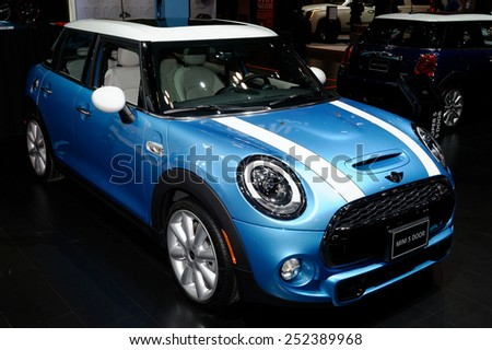 TORONTO-FEBRUARY 12: at the 2015 Canadian International Auto Show Mini 5 Door 2015 is stretched roomier Mini model with diesel engine option on February 12, 2015 in Toronto  - stock photo