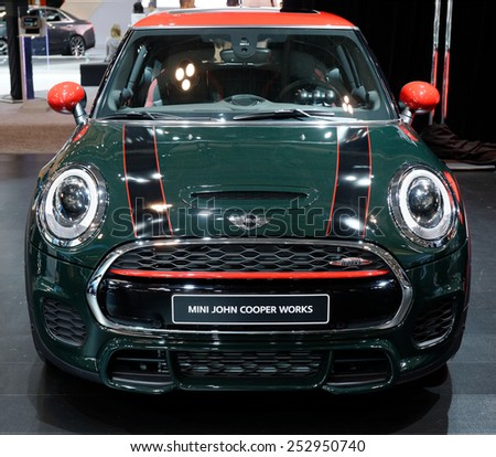 TORONTO-FEBRUARY 12: at the 2015 Canadian International Auto Show, Mini John Cooper Works has 2.0-litre turbocharged four with 228bhp and 23% torque increase over the outgoing JCW - stock photo