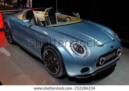TORONTO-FEBRUARY 12: at the 2015 Canadian International Auto Show  MINI Superleggera Vision concept presents a modern interpretation of a classic open-top two-seater on February 12, 2015 in Toronto  - stock photo