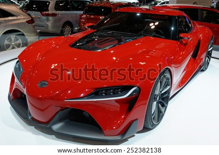 TORONTO-FEBRUARY 12: at the 2015 Canadian International Auto Show Toyota FT-1 is a pure performance, track-focused sports car model created by CALTY Design Research  on February 12, 2015 in Toronto  - stock photo
