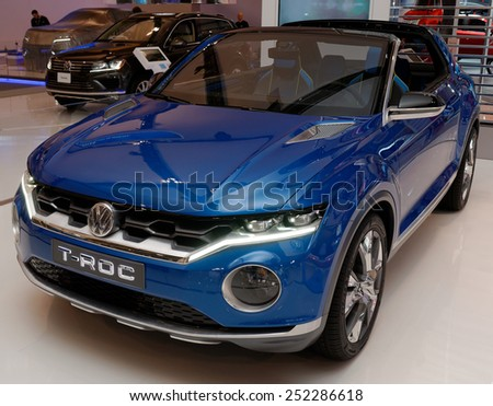 TORONTO-FEBRUARY 12: at the 2015 Canadian International Auto Show  VW T-ROC Concept Vehicle has engine from the VW Golf and aggressive design with AWD  on February 12, 2015 in Toronto  - stock photo