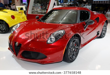 TORONTO-FEBRUARY 12: at the 2016 Canadian International AutoShow, Alfa Romeo 4C Coupe has no muffler and 60-mph flag falls in only 4.5 seconds using launch control - stock photo