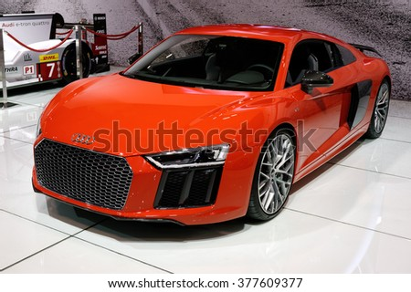 TORONTO-FEBRUARY 12: at the 2016 Canadian International AutoShow, Audi R8 V10 Plus has a power output of 610 hp, a top speed of 330 km/h and a 0 to 100 km/h acceleration time of 3.2 seconds