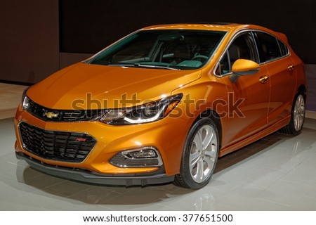 TORONTO-FEBRUARY 12: at the 2016 Canadian International AutoShow, Chevrolet Cruze Hatch is aimed to compete with Ford Focus hatchback, Hyundai Elantra and a new Honda Civic hatch - stock photo