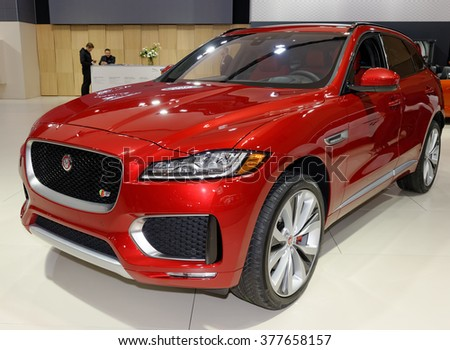 TORONTO-FEBRUARY 12: at the 2016 Canadian International AutoShow, 2017 Jaguar F-Pace S AWD will feature a 380hp supercharged 3.0-litre V6 engine with a 0-100 km/h time of 5.5 seconds