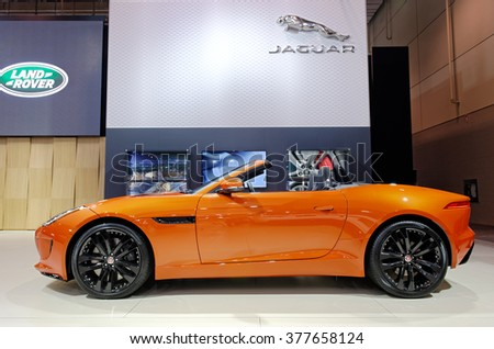 TORONTO-FEBRUARY 12: at the 2016 Canadian International AutoShow, 2016 Jaguar F-Type S AWD comes with 3.0-litre V6, 380 horsepower engine and 8-speed QuickShift ZF automatic transmission - stock photo