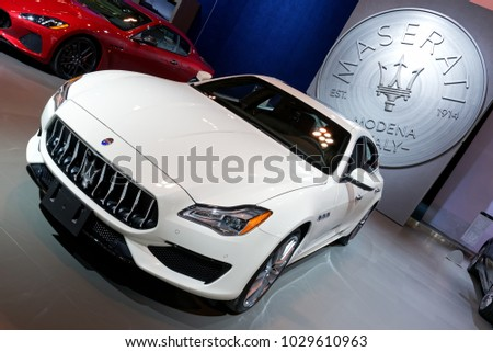 TORONTO FEBRUARY 15: At The 2018 Canadian International AutoShow, Maserati  Quattroporte GTS With
