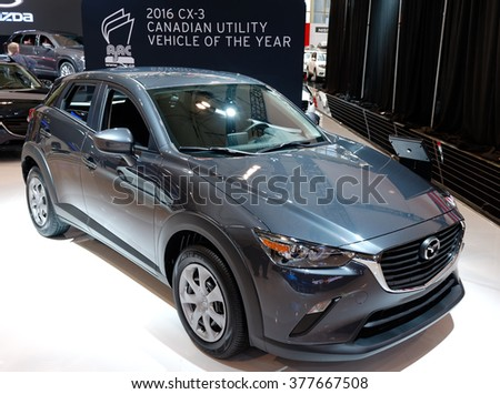 TORONTO-FEBRUARY 12: at the 2016 Canadian International AutoShow  Mazda CX-3 was named Canadian Utility Vehicle of the Year 2016 by AJAC