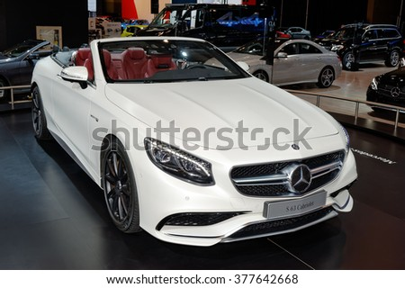 TORONTO-FEBRUARY 12: at the 2016 Canadian International AutoShow.2017 Mercedes-AMG S 63 4Matic Cabriolet has 5.5-litre V8 biturbo engine, 577 hp and accelerate from 0 to100 km/h in 3.9 seconds. - stock photo