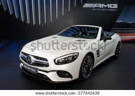 TORONTO-FEBRUARY 12: at the 2016 Canadian International AutoShow.Mercedes AMG SL63 Cabrio V8 Biturbo has a hand-built twin-turbocharged 5.5-liter V8 engine that pumps out 577 horsepower - stock photo