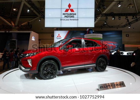 TORONTO FEBRUARY 15: At The 2018 Canadian International AutoShow Mitsubishi  Eclipse Cross Jumps Into