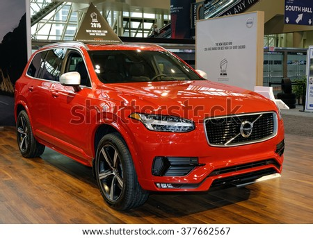 TORONTO-FEBRUARY 12: at the 2016 Canadian International AutoShow, The all new 2016 Volvo XC90 T6 AWD comes with 2.0 inline-4 turbocharged engine capable of 320hp