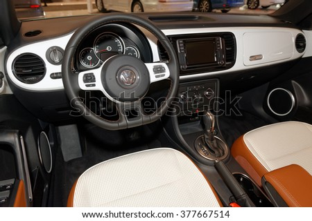 TORONTO-FEBRUARY 12: at the 2016 Canadian International AutoShow, Volkswagen Beetle Classic Convertible cockpit - stock photo