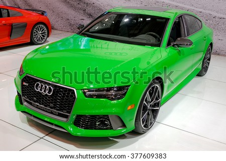 TORONTO-FEBRUARY 12: at the 2016 Canadian International AutoShow, with 605hp the Audi RS7 Performance needs 3.6 seconds to run the 0-100km/h