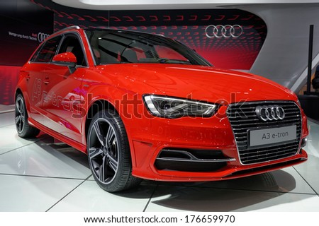 TORONTO-FEBRUARY 14: Audi A3 Sportback e-Tron combines sporty power with impressive efficiency at the 2014 Canadian International Auto Show on February 14, 2014 in Toronto           - stock photo