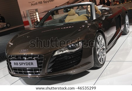 TORONTO - FEBRUARY 11: Audi R8 Spyder at the 2010 Canadian International Auto Show on February 11, 2010 in Toronto