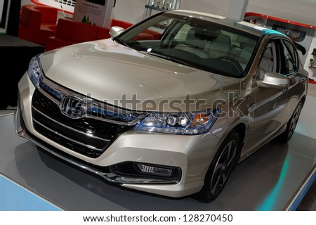TORONTO-FEBRUARY 14: Honda Accord Hybrid at the 2013 Canadian International Auto Show on February 14, 2013 in Toronto - stock photo
