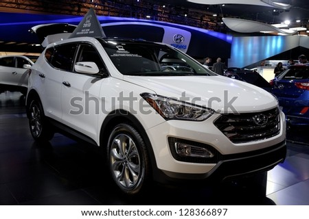 TORONTO-FEBRUARY 14:  Hyundai Santa Fe at the 2013 Canadian International Auto Show on February 14, 2013 in Toronto