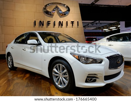TORONTO-FEBRUARY 14: Infinity Q50 Hybrid voted Best New Luxury Car over $50,000  at the 2014 Canadian International Auto Show on February 14, 2014 in Toronto           - stock photo