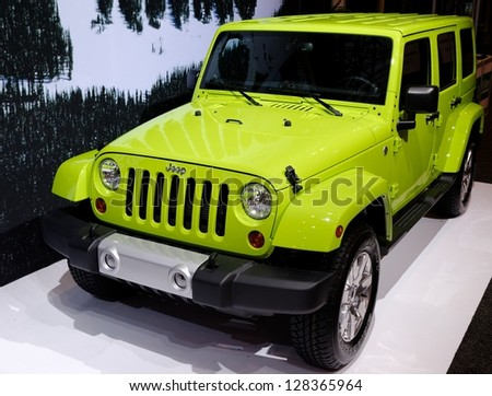 TORONTO-FEBRUARY 14: Jeep Wrangler Unlimited at the 2013 Canadian International Auto Show on February 14, 2013 in Toronto - stock photo
