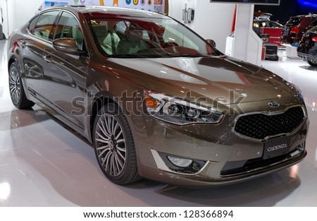 TORONTO-FEBRUARY 14: KIA Cadenza at the 2013 Canadian International Auto Show on February 14, 2013 in Toronto - stock photo