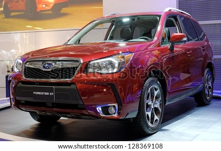 TORONTO-FEBRUARY 14: Subaru Forester XT at the 2013 Canadian International Auto Show on February 14, 2013 in Toronto - stock photo