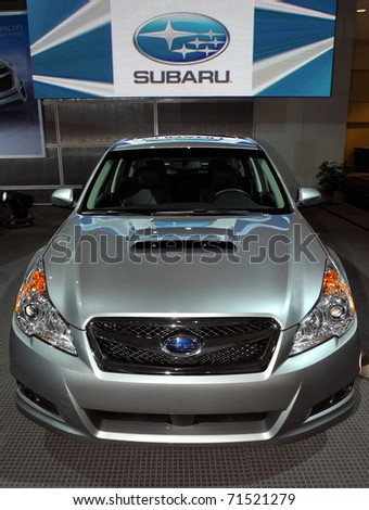TORONTO-FEBRUARY 17:Subaru Legacy displayed at the 2011 Canadian International Auto Show on February 17, 2011 in Toronto