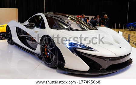 TORONTO-FEBRUARY 14: The all New exotic McLaren P1 at the 2014 Canadian International Auto Show on February 14, 2014 in Toronto           - stock photo