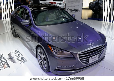TORONTO-FEBRUARY 14: The all 2015 NEW Hyundai Genesis  at the 2014 Canadian International Auto Show on February 14, 2014 in Toronto           - stock photo