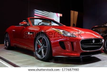 TORONTO-FEBRUARY 14: The all New 2015 Jaguar F-Type S Convertible at the 2014 Canadian International Auto Show on February 14, 2014 in Toronto           - stock photo