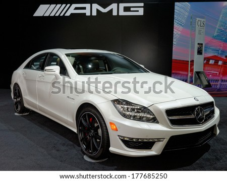 TORONTO-FEBRUARY 14: The all New 2015 Mercedes CLS 63 AMG 4Matic S-model V8 BiTurbo at the 2014 Canadian International Auto Show on February 14, 2014 in Toronto           - stock photo