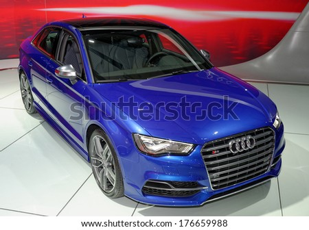 TORONTO-FEBRUARY 14: The all New top of the line Audi S3Sedan at the 2014 Canadian International Auto Show on February 14, 2014 in Toronto           - stock photo
