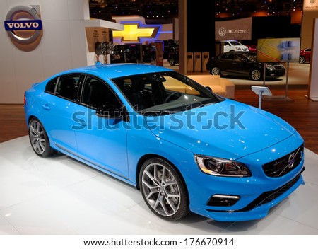 TORONTO-FEBRUARY 14: The all New 2015 Volvo Polestar S60 at the 2014 Canadian International Auto Show on February 14, 2014 in Toronto           - stock photo