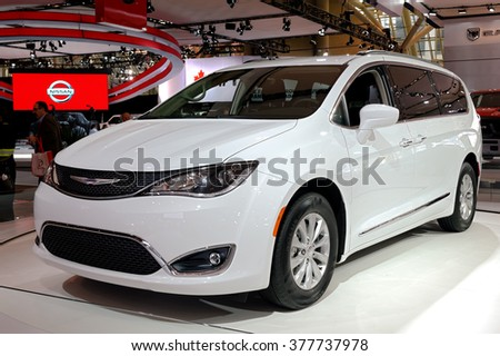 TORONTO-FEBRUARY 12, 2016: The 2016 Canadian International AutoShow, all new Chrysler Pacifica comes with nearly 40 new minivan-first features and unprecedented levels of functionality and technology - stock photo
