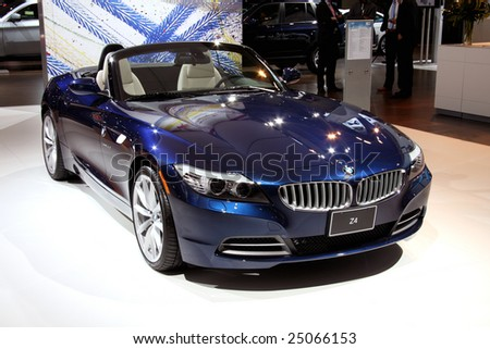 TORONTO, FEBRUARY 11: the new BMW Z4 on display at the Canadian International AutoShow 2009, one of 11 Canadian car premieres at CIAS2009 - stock photo