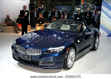 TORONTO, FEBRUARY 11: the new BMW Z4 unveiled to the press at the Canadian International AutoShow 2009, one of 11 Canadian car premieres at CIAS2009 - stock photo