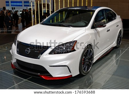 TORONTO-FEBRUARY 14: The new Nissan Sentra NISMO Concept at the 2014 Canadian International Auto Show on February 14, 2014 in Toronto           - stock photo