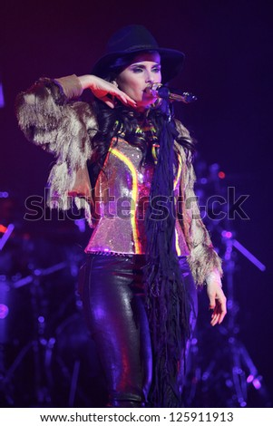TORONTO - JANUARY 24:  Nelly Furtado performs at the Sony Centre for Performing Arts, on January 24th, 2013 in Toronto.
