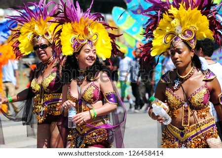 TORONTO-JULY 15: participants at 43th Caribana Festival kick off on July 15, 2010 in Toronto. - stock photo