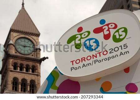 TORONTO - JULY 26, the 2015 Pan Am and Parapan Am Games display at Nathan Phillips Square , July 26, 2014  in Toronto, Canada.